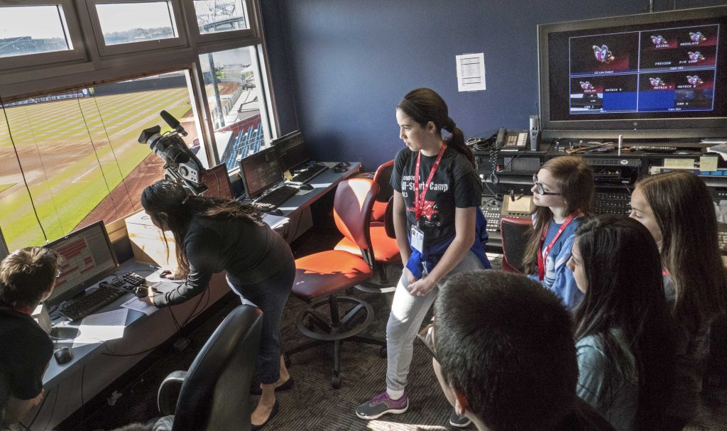 Students in media booth