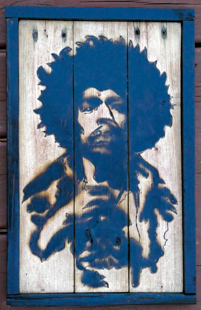 Jimi – Torch and pallet wood by Alan Campbell at the Urban Campus
