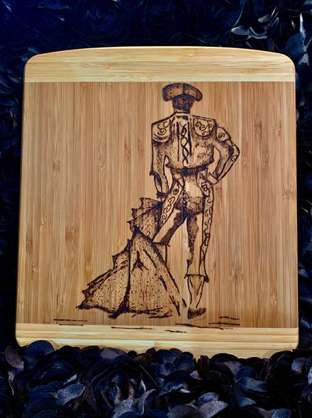 """Bull Fighter"" wood burned, by Lindsey Bustos Rodriguez at SCC Belmont"