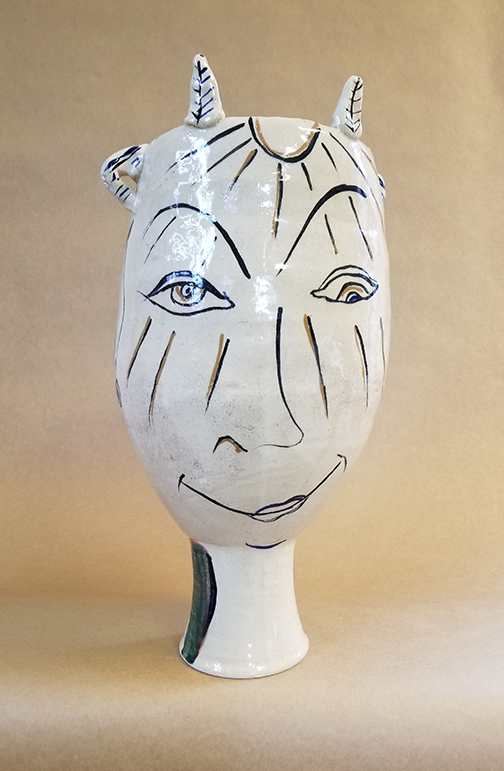 """Face Pot"" Ceramic, by Rob Lipnick, Art Faculty at SCC Belmont"
