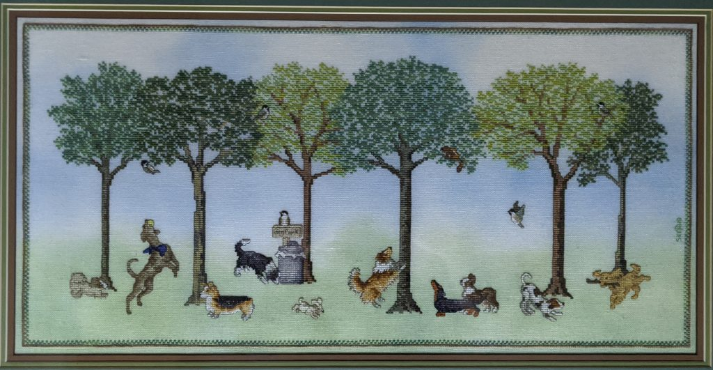 """Dogs Day Out"" Cross Stitch, by Susan Kunde, Science Dept. Lab Assistant"