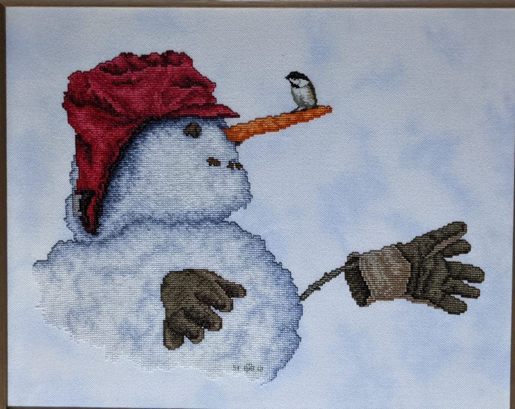 """Winter Visitor"" Cross Stitch, by Susan Kunde, Science Dept. Lab Assistant"